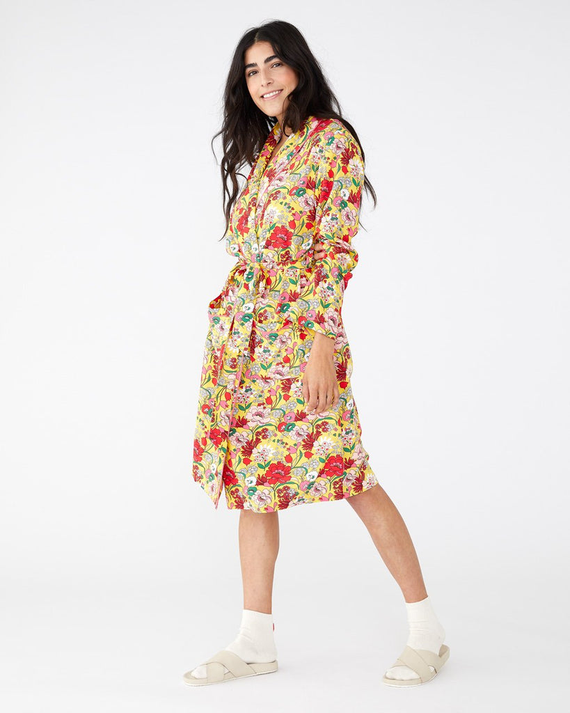 Bright yellow floral classic fit robe shown on model