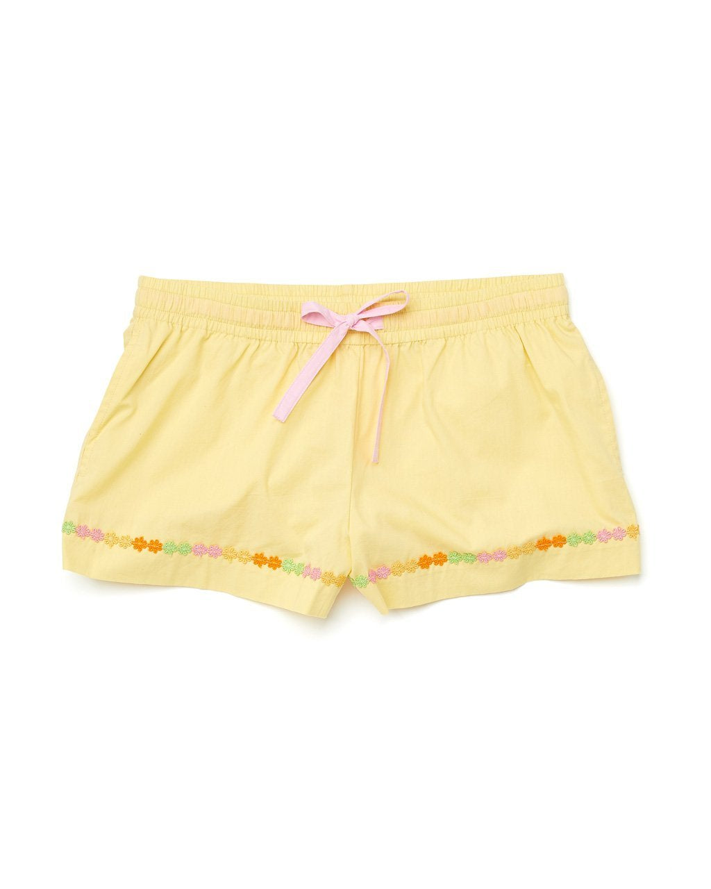 light yellow leisure shorts with a pink draw ribbon and a daisy applique trim at the bottom