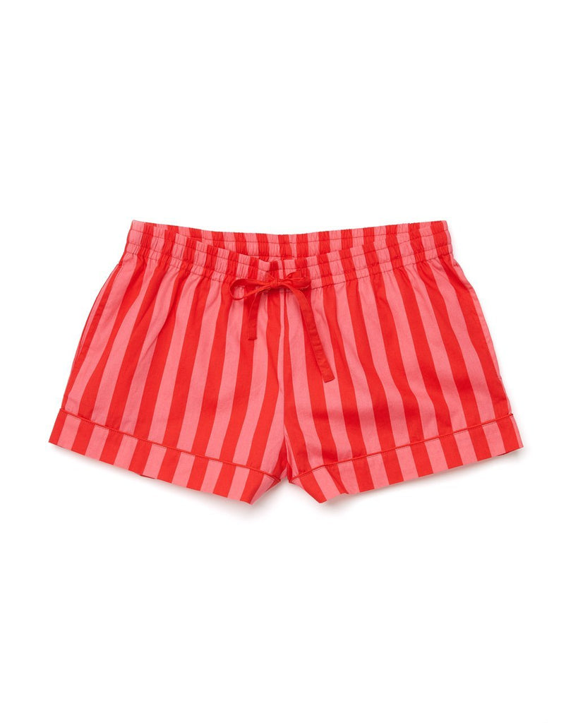 Red and pink vertical stripe leisure shorts with draw string