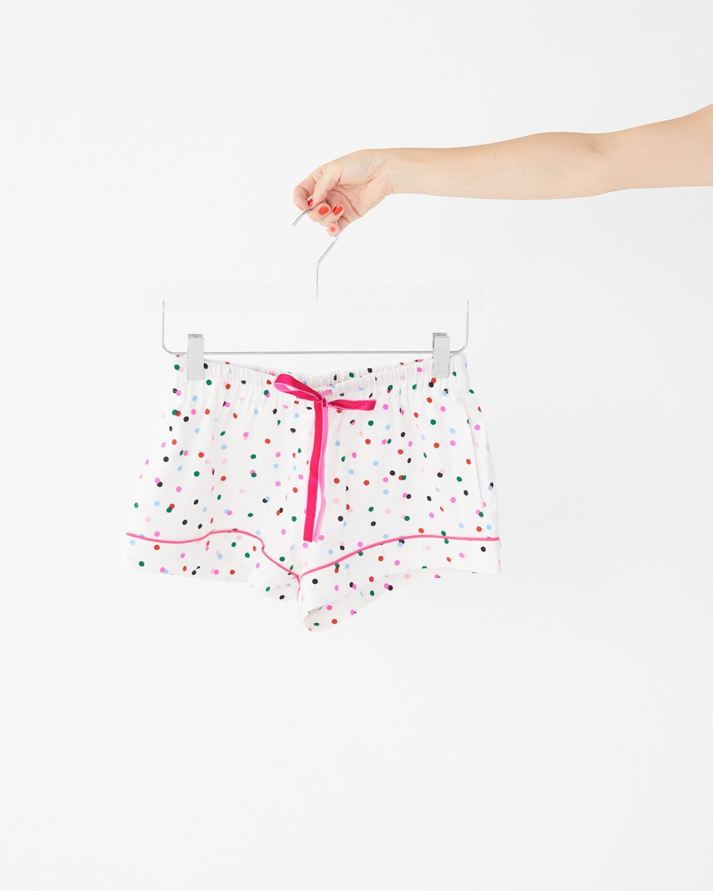 Soft leisure shorts with an allover rotary polka dot print.