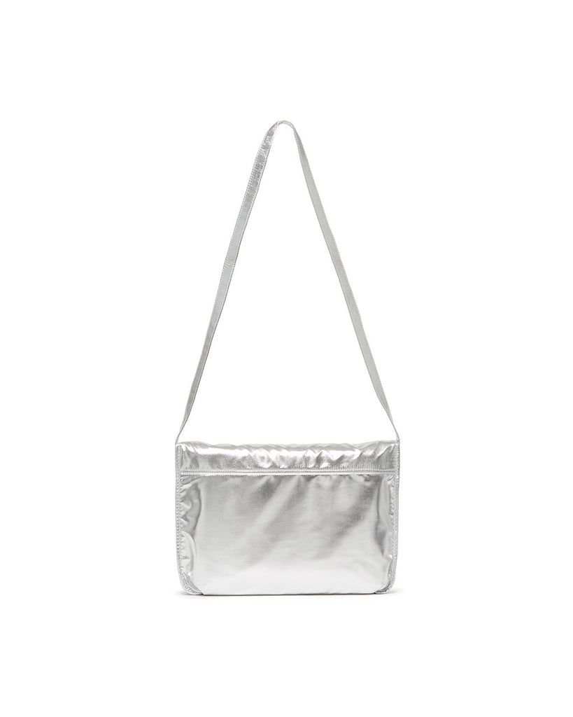 logged on laptop bag - metallic silver