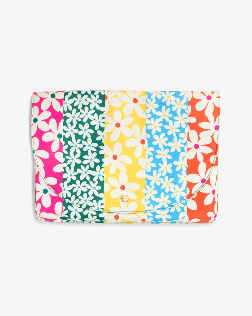 laptop sleeve with a multi colored daisy pattern