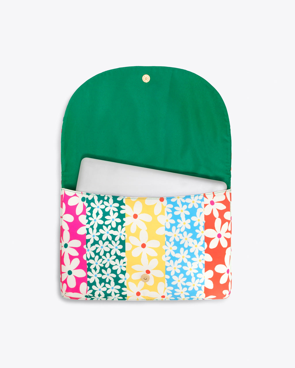 daisy laptop sleeve with a green interior and shown with 15-inch laptop