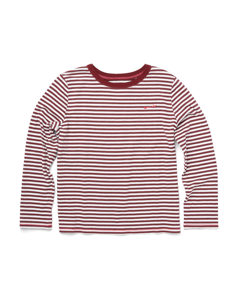 Front shot of in a long sleeve red and white striped t-shirt.
