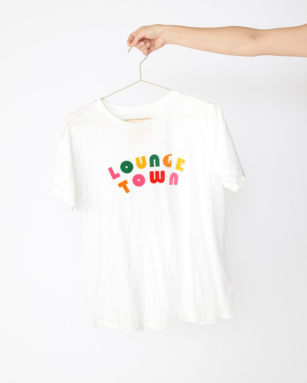 white slub tee with the words lounge town in alternating colors
