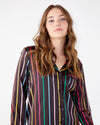 Long sleeve silk leisure top in disco stripe.
