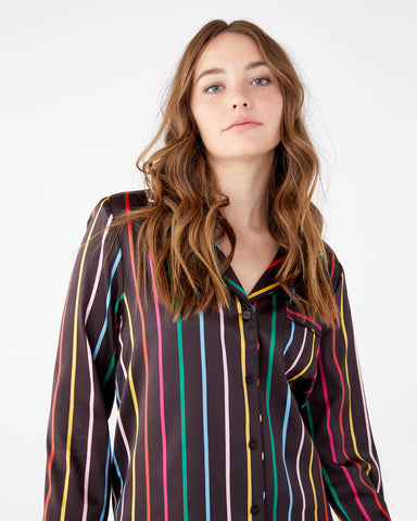 Silk Long Sleeve Leisure Shirt - Disco Stripe