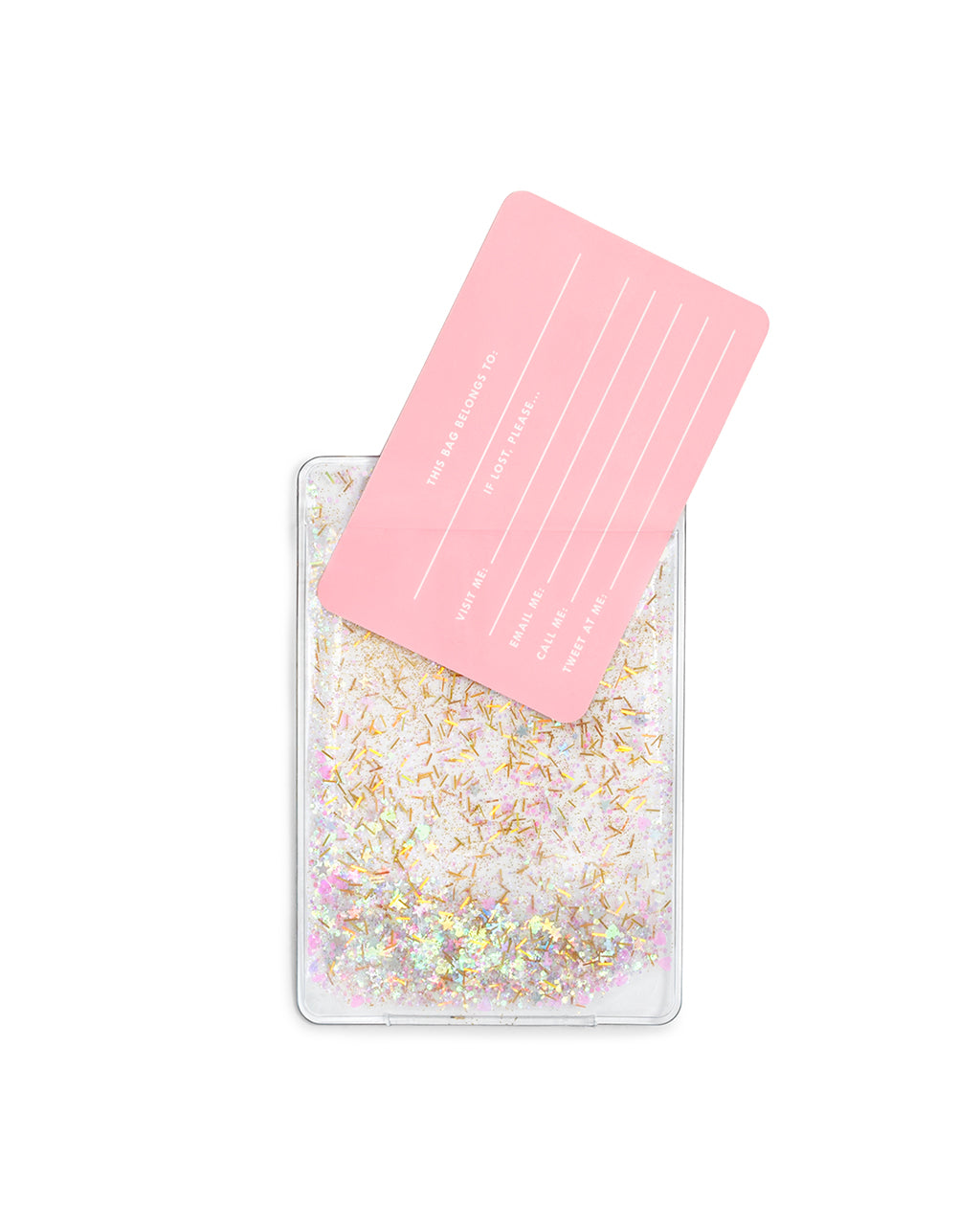 glitter luggage tag shown with pink card with lines for writing personal contact information