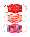 3 pack of face mask one red one with a daisy pattern, one light pink with the word optimism repeated, and one hot pink with a floral patter