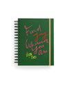 green medium 17 month planner with the words find joy wherever you are on the cover