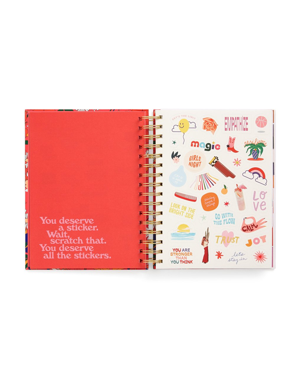 interior image of planner showing sticker page and an end sheet featuring an inspirational quote