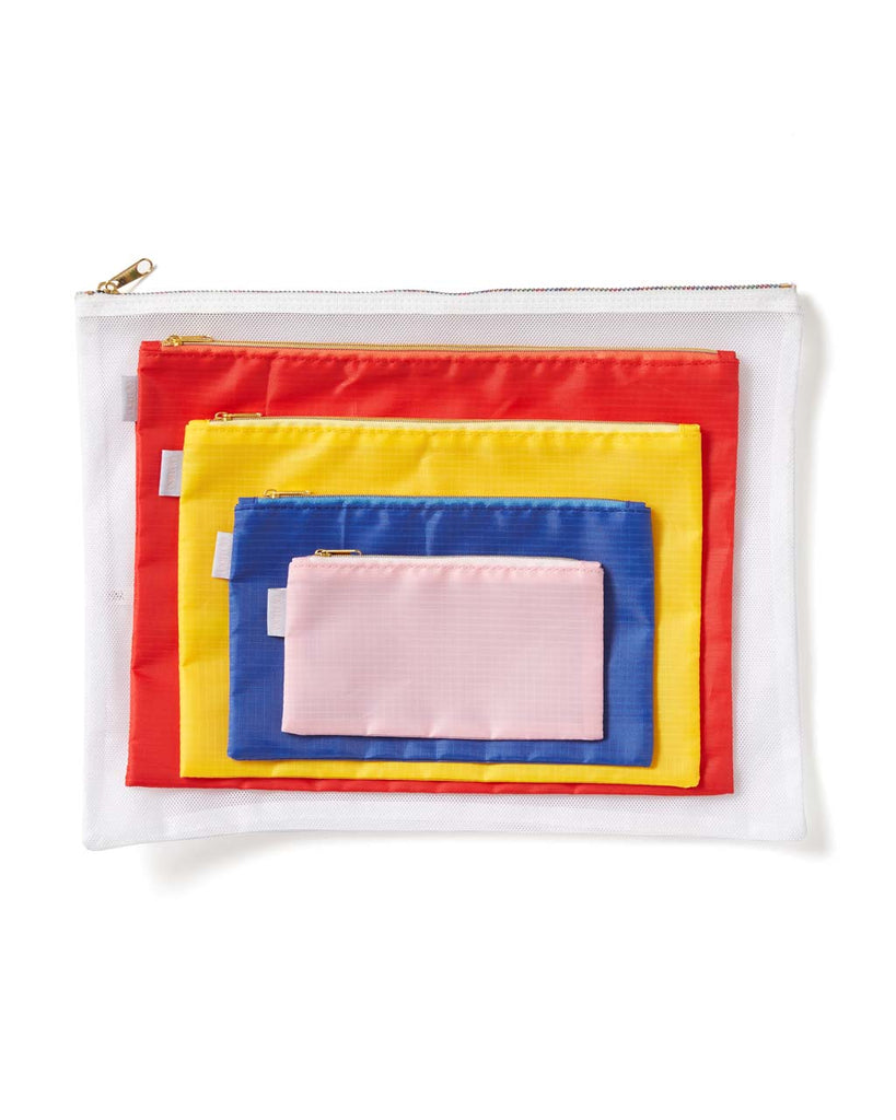 Red, yellow, blue, and pink pouches are made of durable nylon.