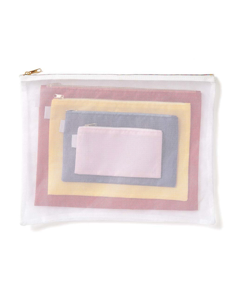 White pouch is made of mesh material.