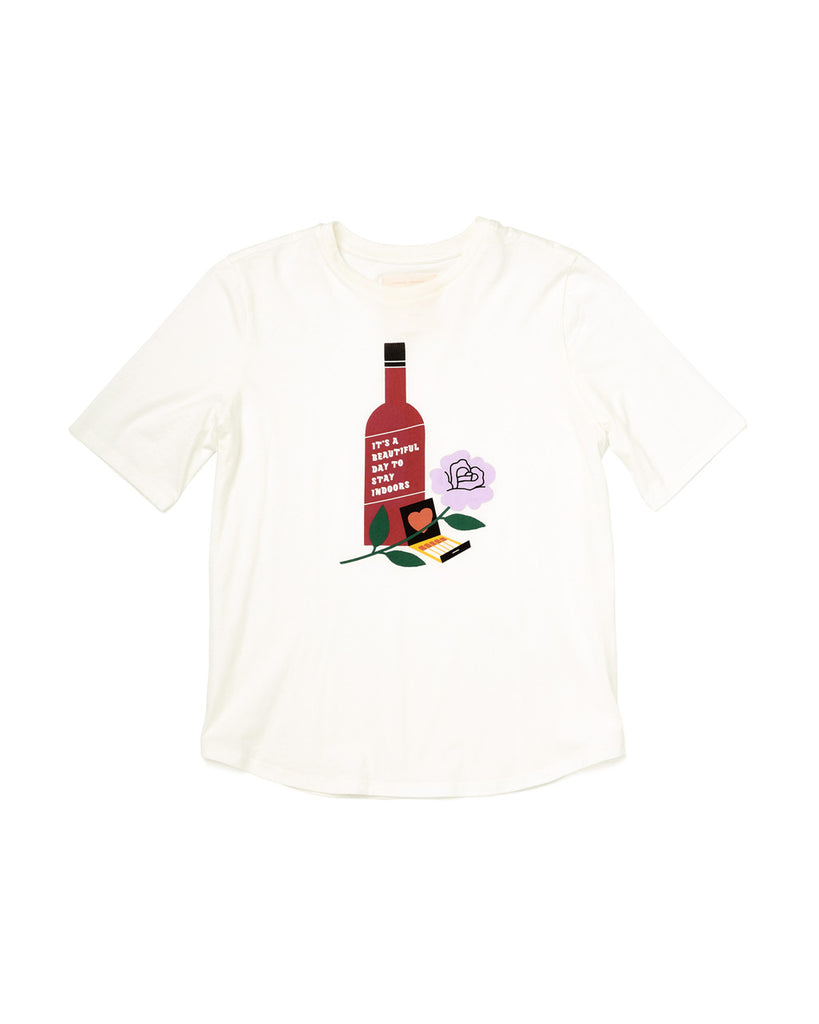 Front shot of a white midi sleeve tshirt with a still life graphic in the center.