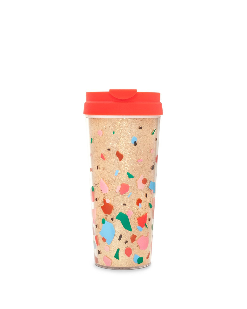 This mug comes in shiny gold with a bright red lid and colorful abstract shapes printed on the side.