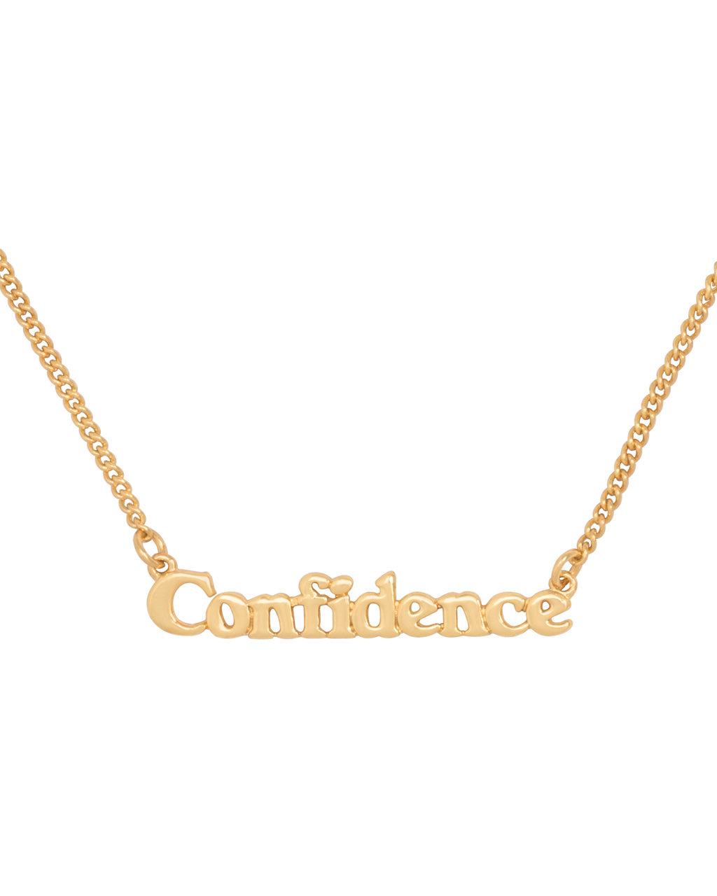 gold chain necklace with the word confidence in 3d letters