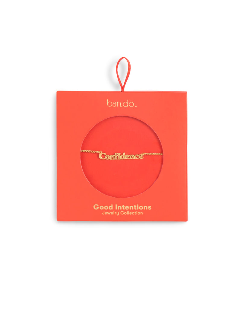 gold chain necklace with the word confidence shown in orange box packaging