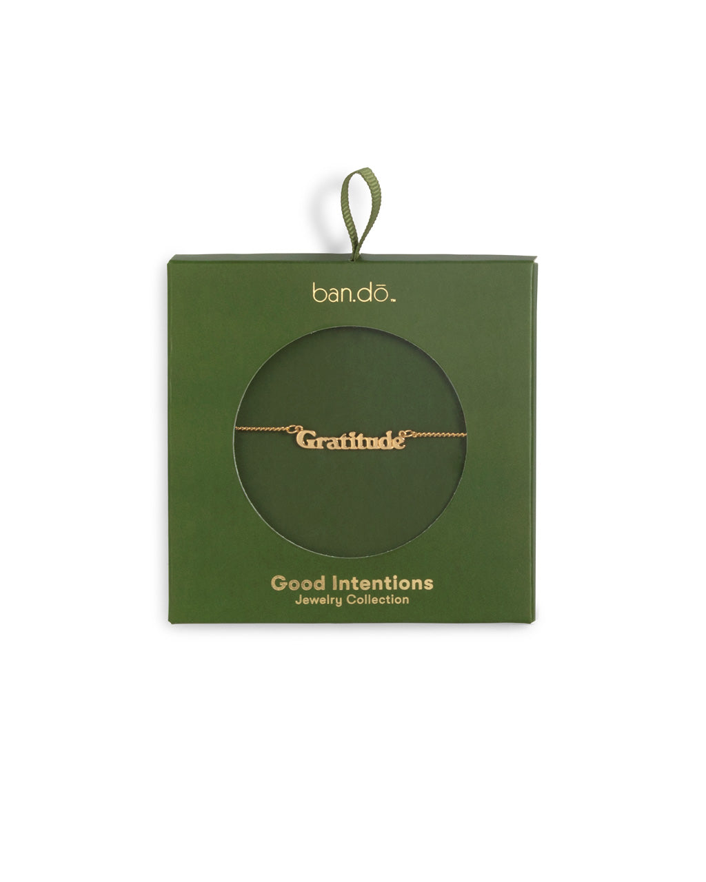 gold chain necklace with the word gratitude shown in green box packaging