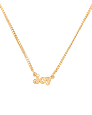 gold chain necklace with the word joy