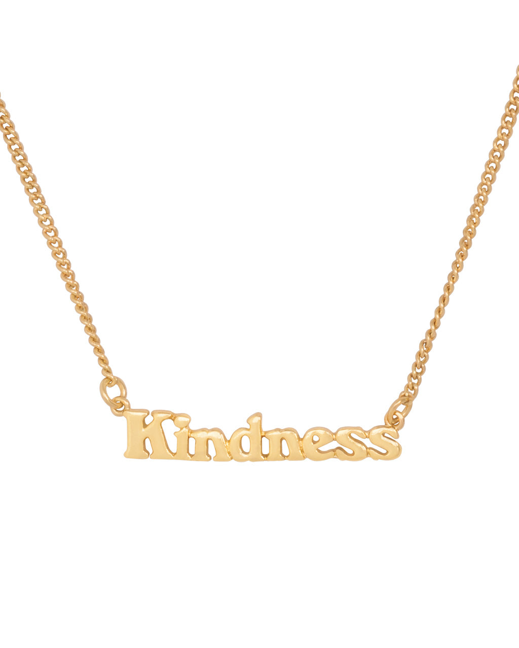 gold chain necklace with the word kindness