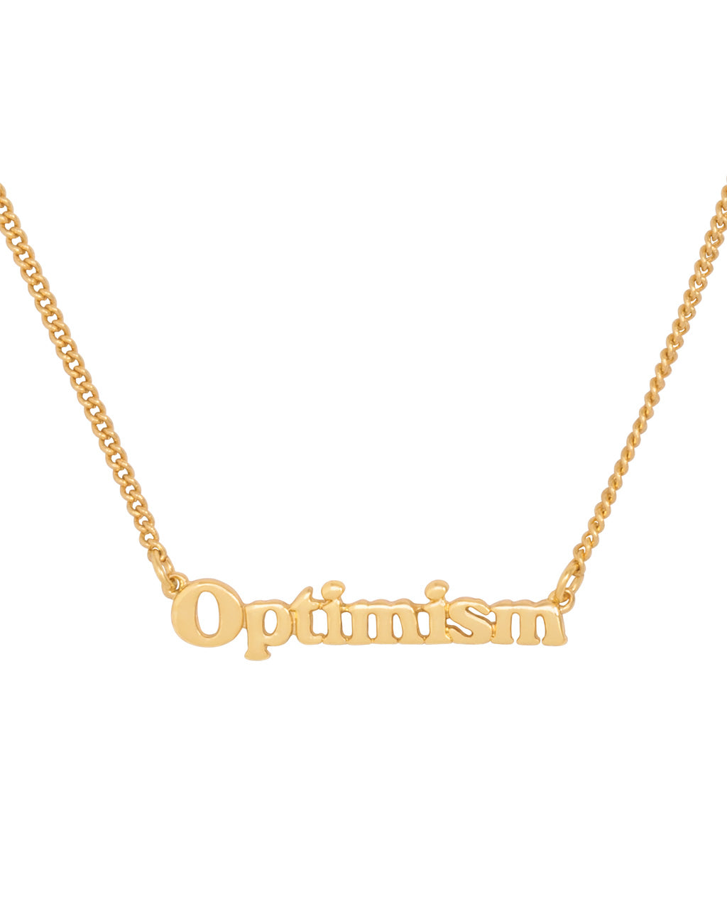 gold chain necklace with the word optimism