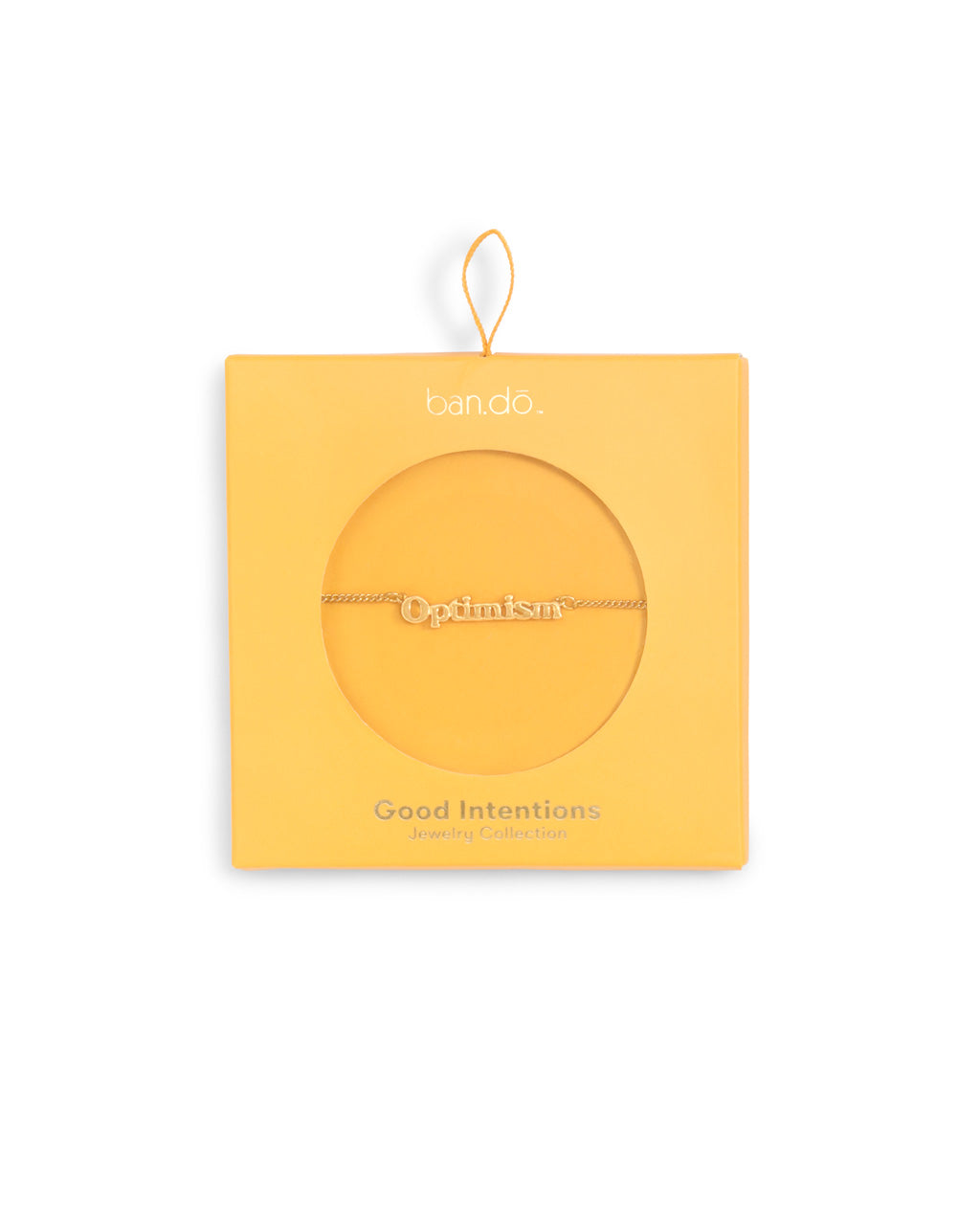 gold chain necklace with the word optimism shown in yellow box packaging