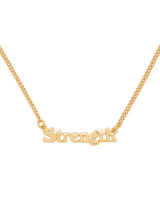 gold chain necklace with the word strength