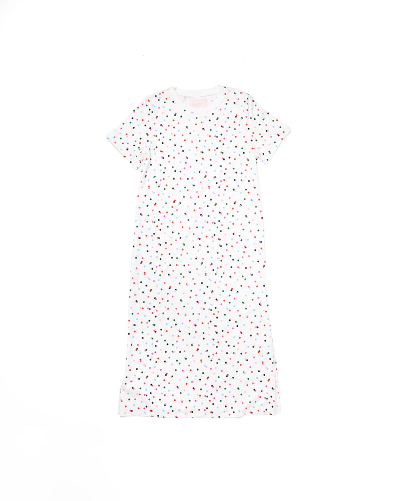 White short sleeve midi length tshirt dress with multi-color polka dots.