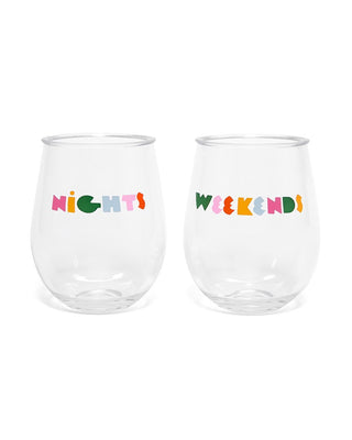 Acrylic stemless glass set with printed artwork
