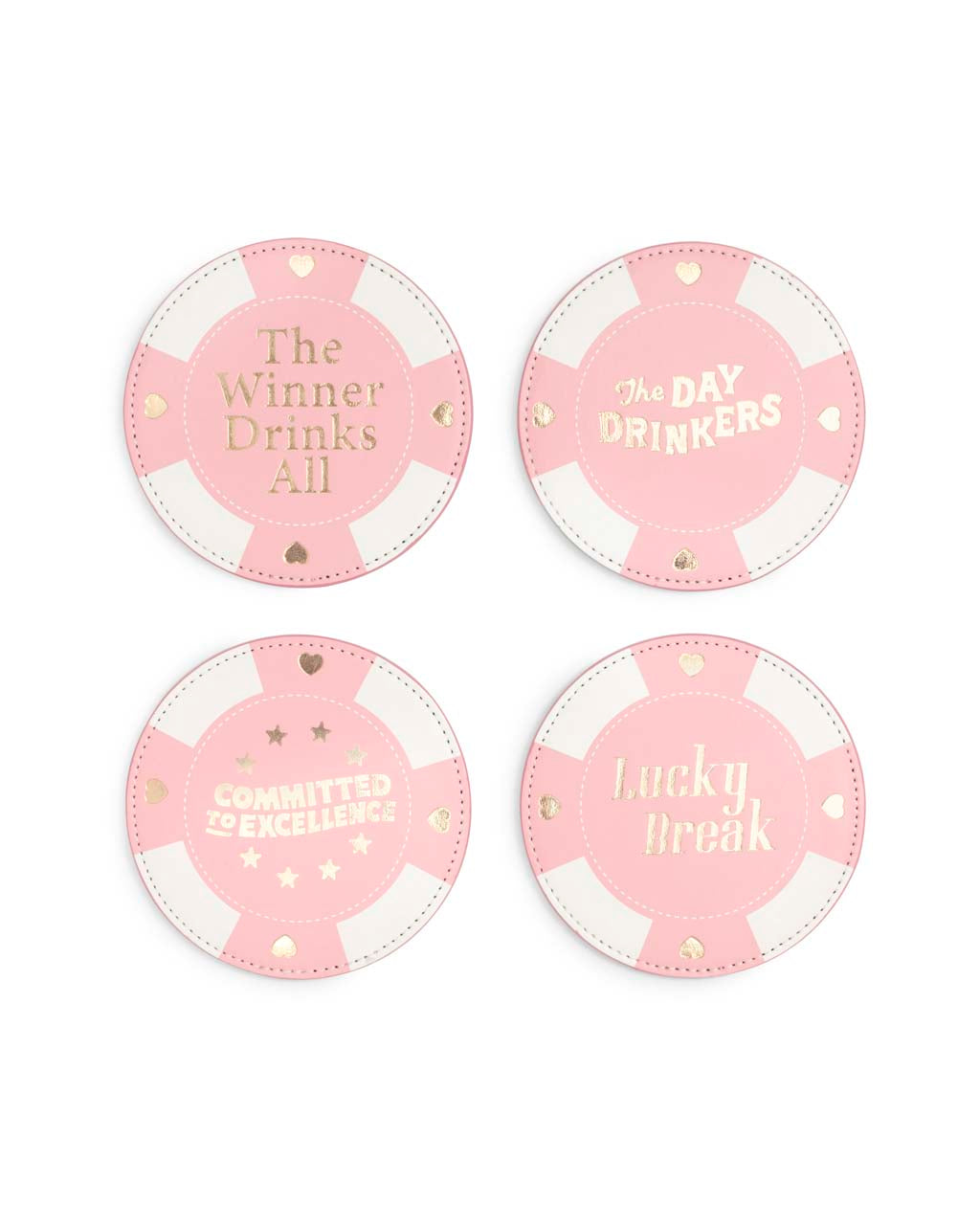 The Party On Coaster Set comes in a pink poker chip design.