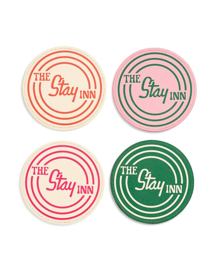 Four piece coaster set with double-sided designs