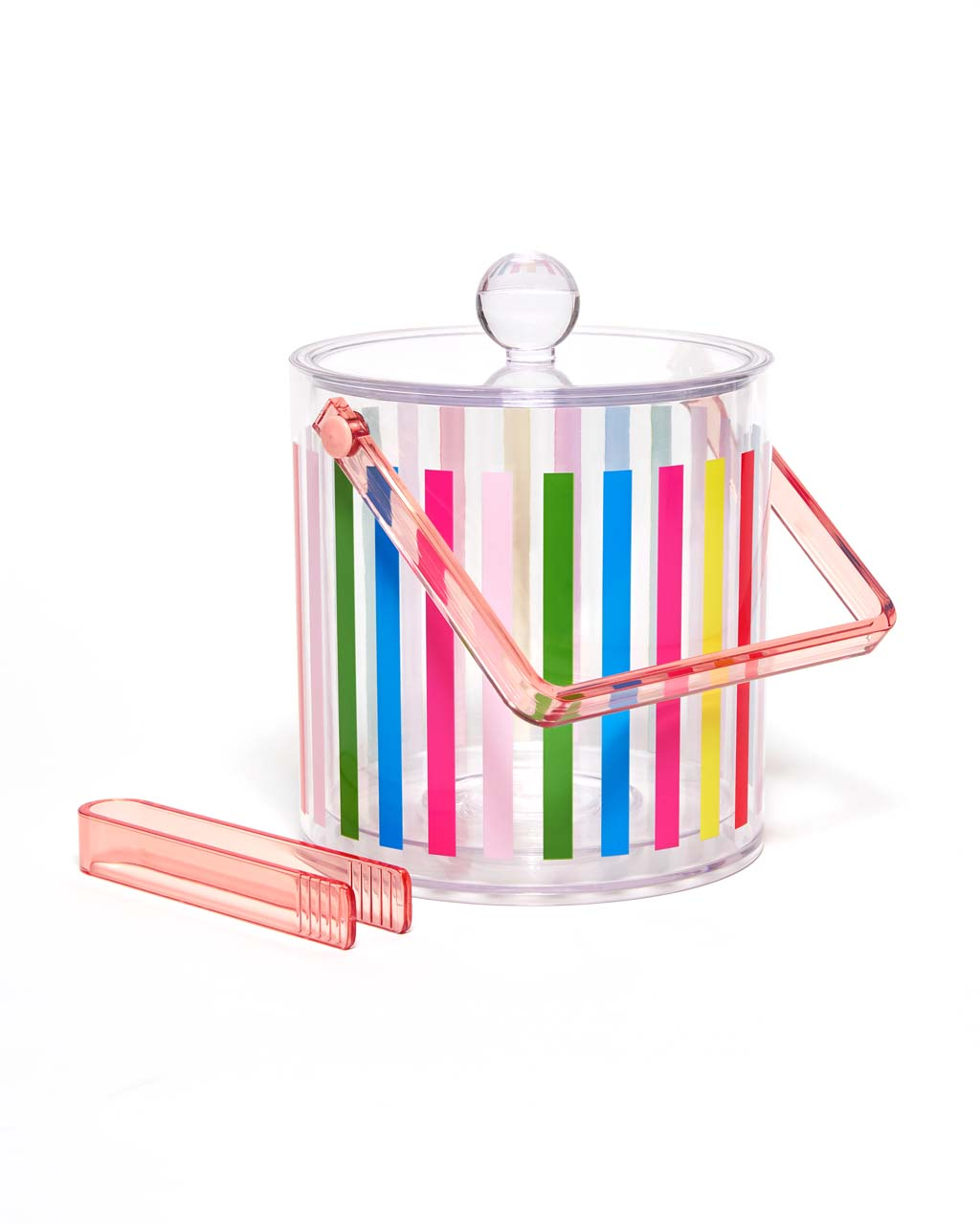 The Party On Ice Bucket is clear, with rainbow vertical stripes on the outside.