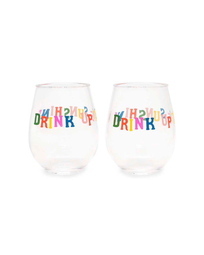 Two stemless wineglasses with