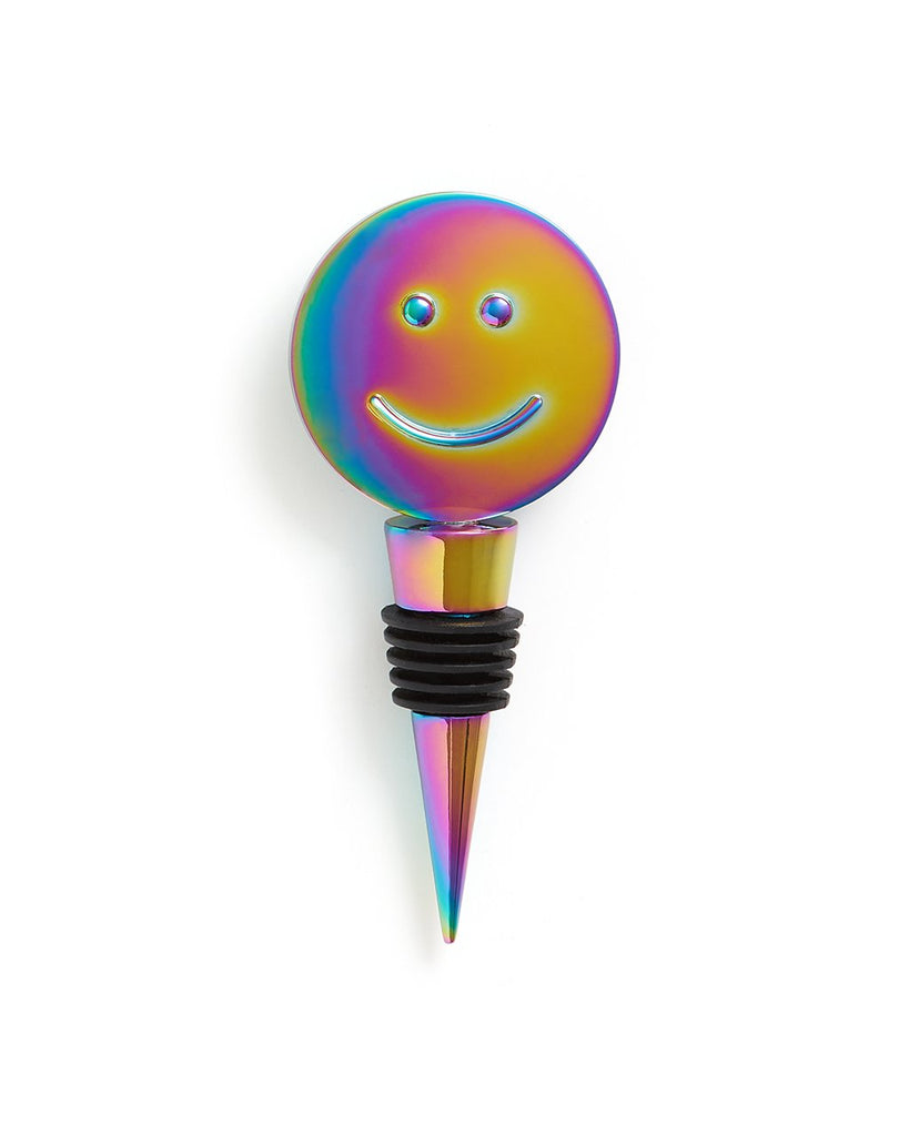The Party On Wine Stopper comes in an iridescent rainbow color.