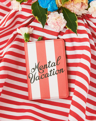 Leatherette passport holder with a swim club stripe design and the words mental vacation