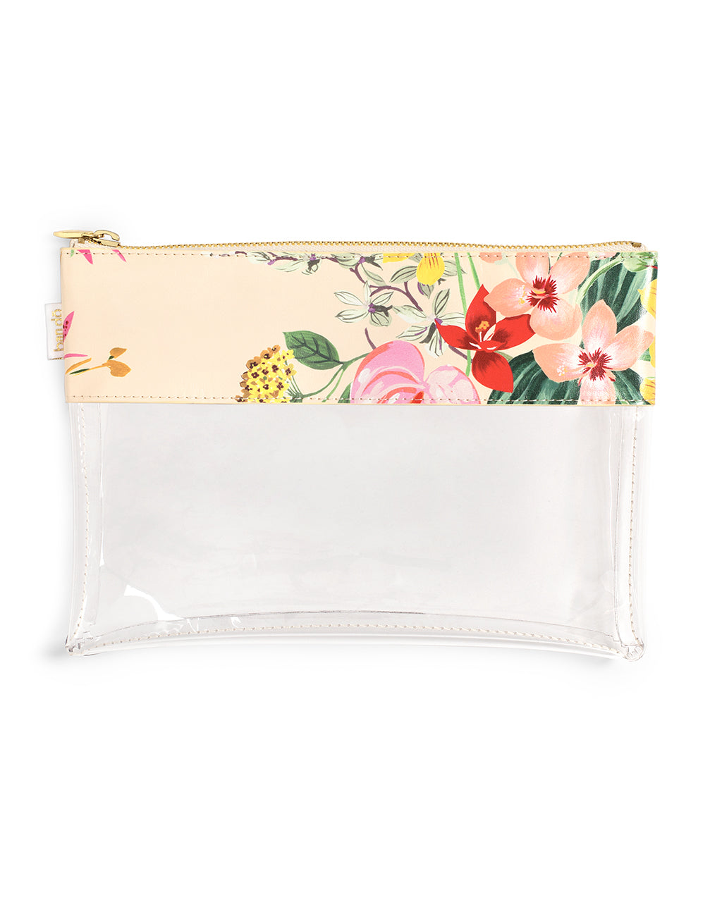 pouch with a translucent bottom and a leatherette trim with a floral pattern