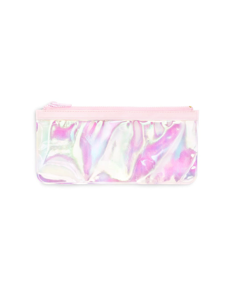 This Get It Together Pencil Pouch comes in shiny pink pearlescent color.