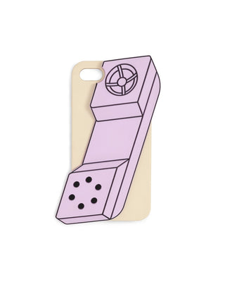 This iPhone case comes in a colorful design that looks like an old pink phone receiver.