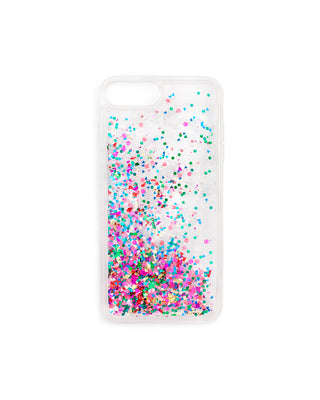 This Glitter Bomb iPhone Case is clear with colorful glitter floating inside.