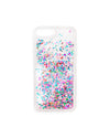 Multicolored confetti floating in the clear phone case