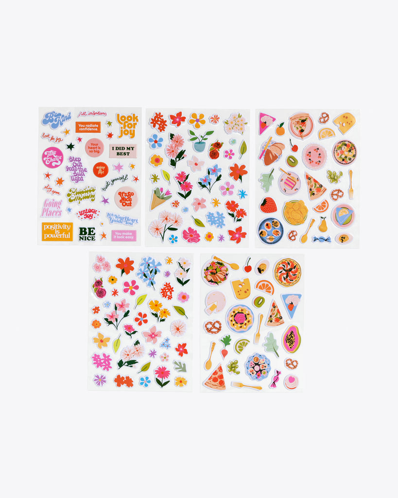 5 sticker sheets with puffy stickers