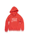 Red long sleeve hoodie with a white