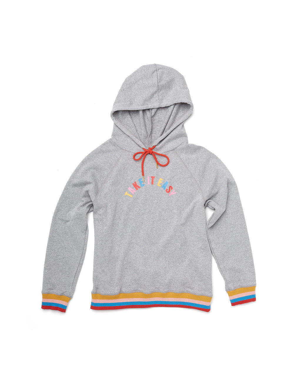 "Long sleeve sweatshirt with rainbow striped hem, cuffs, and graphic ""take it easy"" in the center."