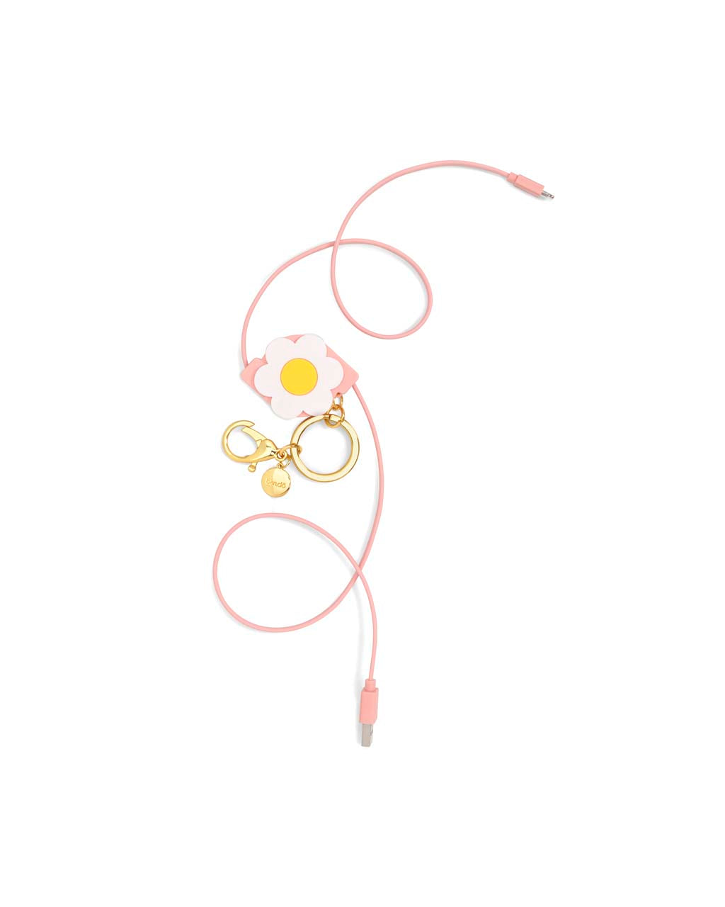 Pink charging cable features ABS plastic 8-pin and USB ends.