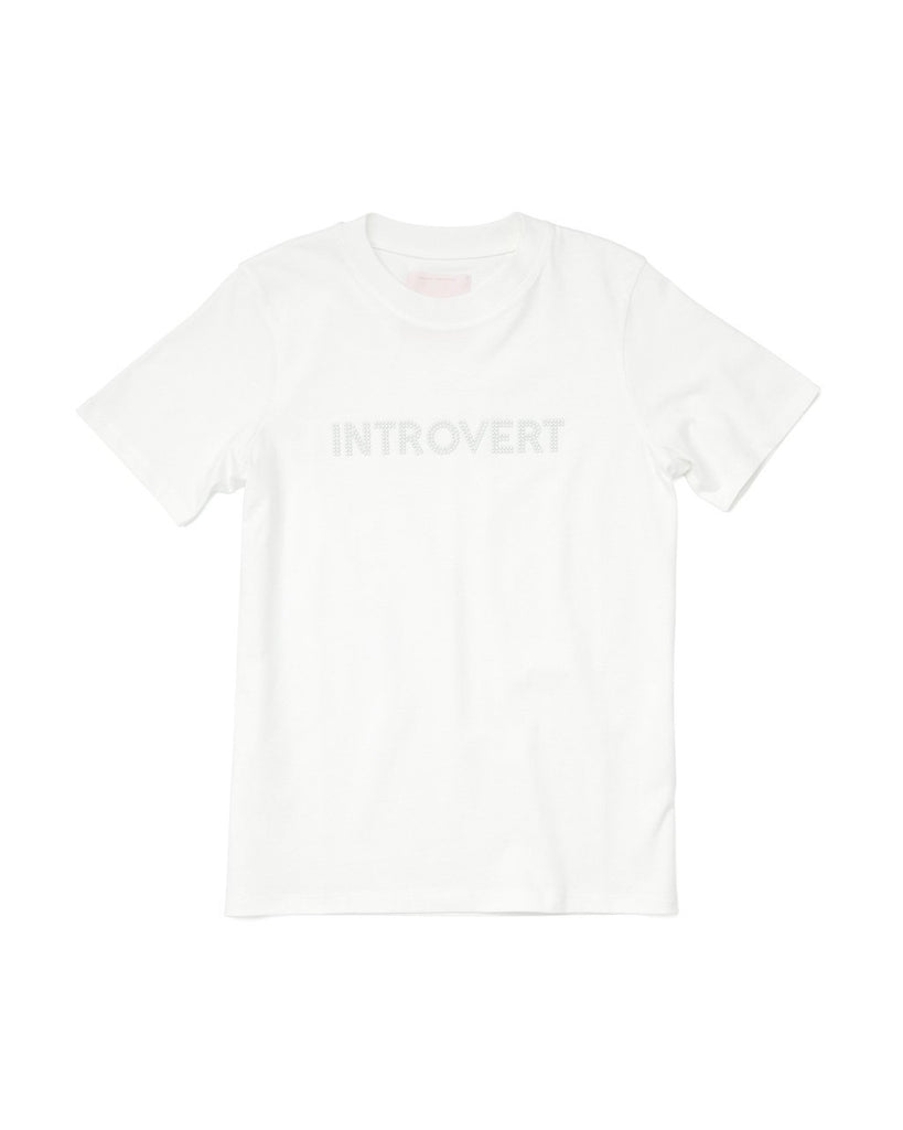 White t-shirt with a faux pearl word art design