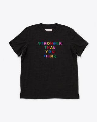 black tee with the words stronger than you think in a multi color design