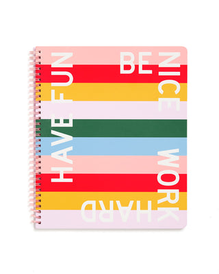 This Rough Draft Notebook comes in a rainbow striped design by Maddy Nye.