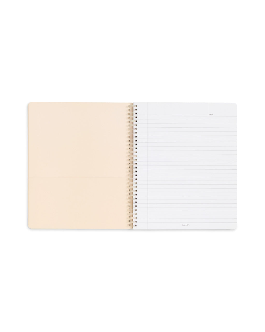 open view of spiral notebook with ivory inner page with pocket, and lined white paper