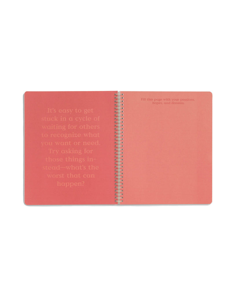 Centerfold of notebook with inspirational words and a space to write.