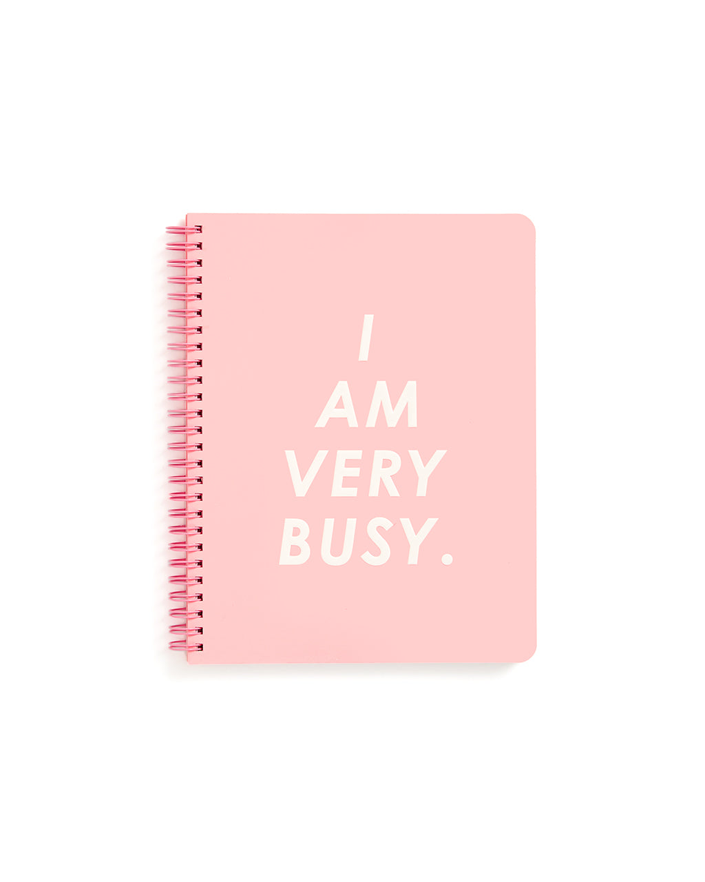 This Rough Draft Notebook comes in pink, with 'I Am Very Busy' printed in white letters across the front.